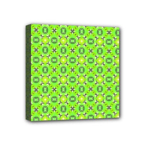 Vibrant Abstract Tropical Lime Foliage Lattice Mini Canvas 4  X 4  by DianeClancy