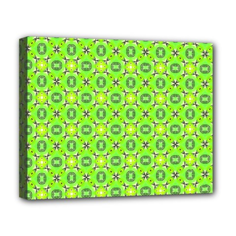 Vibrant Abstract Tropical Lime Foliage Lattice Deluxe Canvas 20  X 16   by DianeClancy