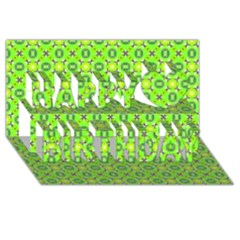 Vibrant Abstract Tropical Lime Foliage Lattice Happy Birthday 3d Greeting Card (8x4)  by DianeClancy