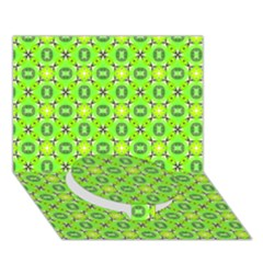 Vibrant Abstract Tropical Lime Foliage Lattice Circle Bottom 3d Greeting Card (7x5)  by DianeClancy