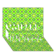 Vibrant Abstract Tropical Lime Foliage Lattice You Are Invited 3d Greeting Card (7x5)  by DianeClancy