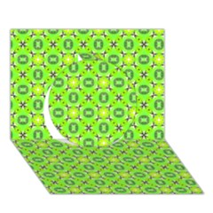 Vibrant Abstract Tropical Lime Foliage Lattice Circle 3d Greeting Card (7x5)  by DianeClancy