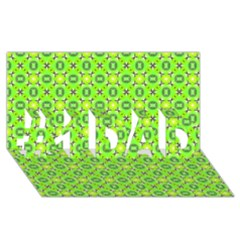Vibrant Abstract Tropical Lime Foliage Lattice #1 Dad 3d Greeting Card (8x4)  by DianeClancy