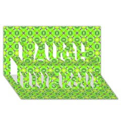 Vibrant Abstract Tropical Lime Foliage Lattice Laugh Live Love 3d Greeting Card (8x4)  by DianeClancy