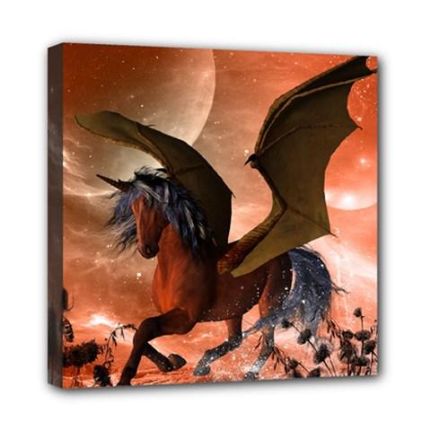 Wonderful Dark Unicorn In The Night Mini Canvas 8  x 8  by FantasyWorld7