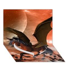 Wonderful Dark Unicorn In The Night Heart Bottom 3d Greeting Card (7x5)  by FantasyWorld7