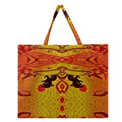 Green Sun Zipper Large Tote Bag by MRTACPANS