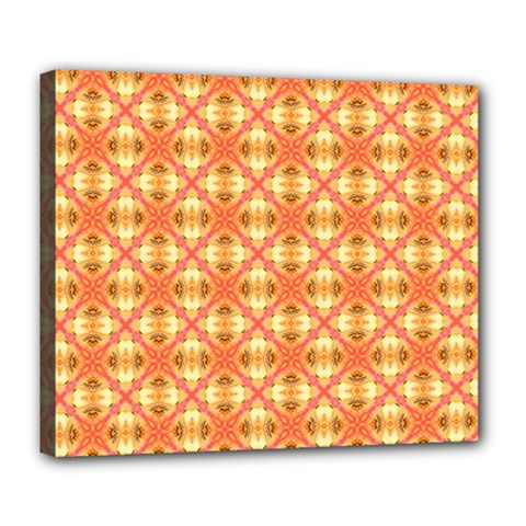 Peach Pineapple Abstract Circles Arches Deluxe Canvas 24  X 20   by DianeClancy
