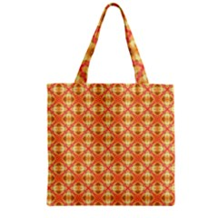 Peach Pineapple Abstract Circles Arches Zipper Grocery Tote Bag by DianeClancy