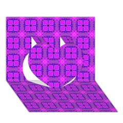 Abstract Dancing Diamonds Purple Violet Heart 3d Greeting Card (7x5)  by DianeClancy