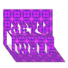 Abstract Dancing Diamonds Purple Violet Get Well 3d Greeting Card (7x5)  by DianeClancy