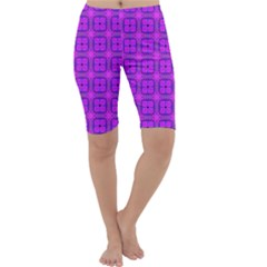 Abstract Dancing Diamonds Purple Violet Cropped Leggings by DianeClancy