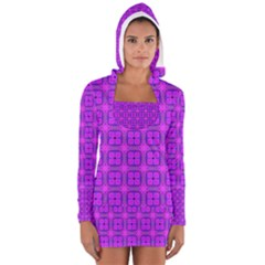 Abstract Dancing Diamonds Purple Violet Women s Long Sleeve Hooded T-shirt by DianeClancy
