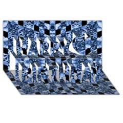 Indigo Check Ornate Print Happy Birthday 3d Greeting Card (8x4)  by dflcprints