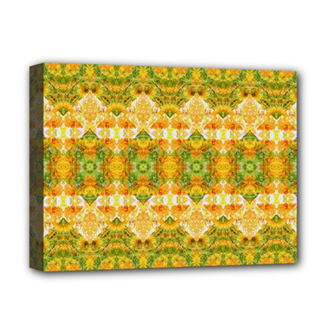Boho Stylized Floral Stripes Deluxe Canvas 16  X 12   by dflcprints