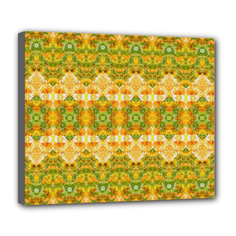 Boho Stylized Floral Stripes Deluxe Canvas 24  X 20   by dflcprints
