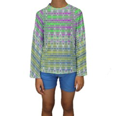 Colorful Zigzag Pattern Kid s Long Sleeve Swimwear by BrightVibesDesign