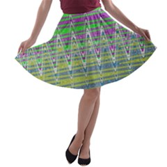 Colorful Zigzag Pattern A Line Skater Skirt by BrightVibesDesign