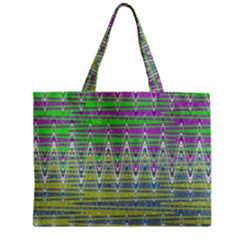 Colorful Zigzag Pattern Zipper Mini Tote Bag by BrightVibesDesign