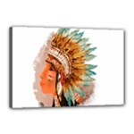 Native American Young Indian Shief Canvas 18  x 12