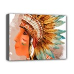 Native American Young Indian Shief Deluxe Canvas 16  x 12