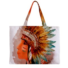 Native American Young Indian Shief Zipper Mini Tote Bag by TastefulDesigns