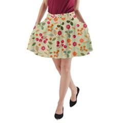 Elegant Floral Seamless Pattern A Line Pocket Skirt by TastefulDesigns