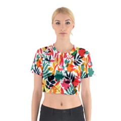 Seamless Autumn Leaves Pattern  Cotton Crop Top by TastefulDesigns