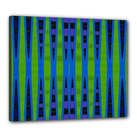 Blue Green Geometric Canvas 24  X 20  by BrightVibesDesign