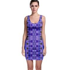 Blue Black Geometric Pattern Sleeveless Bodycon Dress by BrightVibesDesign