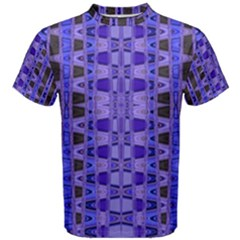 Blue Black Geometric Pattern Men s Cotton Tee by BrightVibesDesign