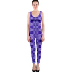 Blue Black Geometric Pattern Onepiece Catsuit by BrightVibesDesign