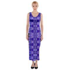 Blue Black Geometric Pattern Fitted Maxi Dress by BrightVibesDesign
