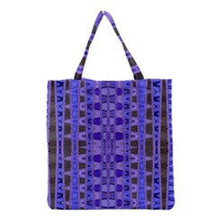 Blue Black Geometric Pattern Grocery Tote Bag by BrightVibesDesign