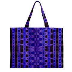 Blue Black Geometric Pattern Zipper Mini Tote Bag by BrightVibesDesign