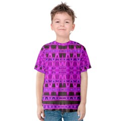 Bright Pink Black Geometric Pattern Kid s Cotton Tee by BrightVibesDesign