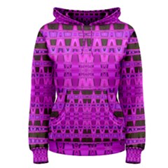 Bright Pink Black Geometric Pattern Women s Pullover Hoodie by BrightVibesDesign
