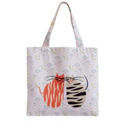Two Lovely Cats   Zipper Grocery Tote Bag by TastefulDesigns