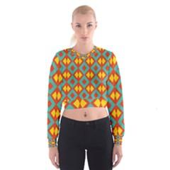 Blue Rhombus Pattern                  Women s Cropped Sweatshirt