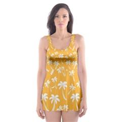 Summer Palm Tree Pattern Skater Dress Swimsuit