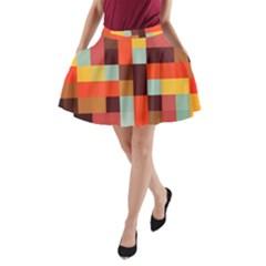 Tiled Colorful Background A-Line Pocket Skirt by TastefulDesigns