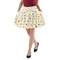 Colorful Dots Pattern A Line Pocket Skirt by TastefulDesigns