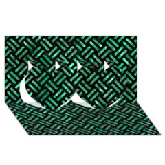 Woven2 Black Marble & Green Marble Twin Hearts 3d Greeting Card (8x4) by trendistuff