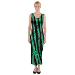 Skin4 Black Marble & Green Marble Fitted Maxi Dress by trendistuff
