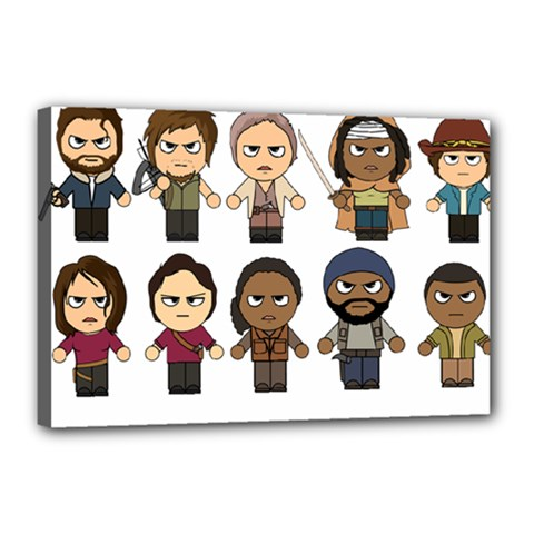 The Walking Dead   Main Characters Chibi   Amc Walking Dead   Manga Dead Canvas 18  X 12  by PTsImaginarium