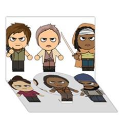 The Walking Dead   Main Characters Chibi   Amc Walking Dead   Manga Dead Circle Bottom 3d Greeting Card (7x5)  by PTsImaginarium