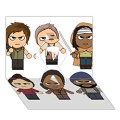 The Walking Dead   Main Characters Chibi   Amc Walking Dead   Manga Dead Ribbon 3d Greeting Card (7x5)  by PTsImaginarium