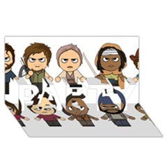 The Walking Dead   Main Characters Chibi   Amc Walking Dead   Manga Dead Party 3d Greeting Card (8x4)  by PTsImaginarium