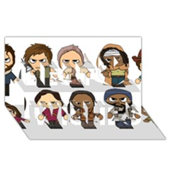 The Walking Dead   Main Characters Chibi   Amc Walking Dead   Manga Dead Best Wish 3d Greeting Card (8x4)  by PTsImaginarium