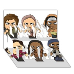 The Walking Dead   Main Characters Chibi   Amc Walking Dead   Manga Dead Work Hard 3d Greeting Card (7x5)  by PTsImaginarium